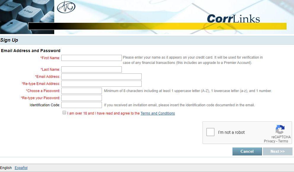 corrrlinks singup page